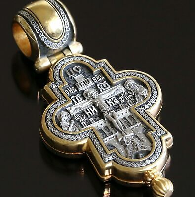 Guardian Angel Big Russian Greek Orthodox Pendant Cross ,Silver 925 +.999 Gold