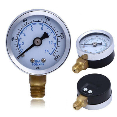 New Pressure Gauge 50mm Dial Bottom & Back Connection Pneumatic Air  0-200 PSI