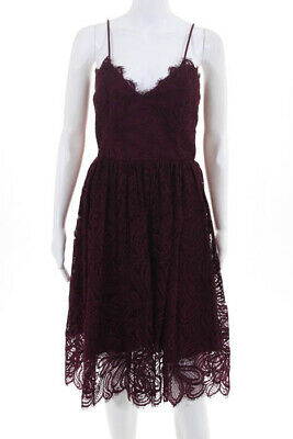 034595827cbc ZAC Zac Posen Womens Viola Dress Size 10 Wine Red Cotton Lace $790 New