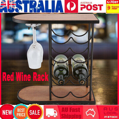 8 Bottles 42cm Metal Wine Rack Storage Cabinet Stand Holder Home Bar Organiser