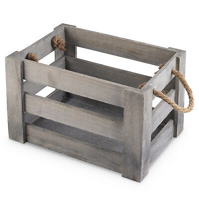 Medium Grey Wooden Crate With Rope Handles
