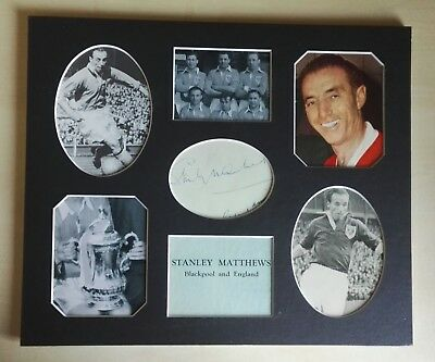 STANLEY MATTHEWS BLACKPOOL FA CUP 1953 FINAL AUTOGRAPH MOUNTED DISPLAY 12 x 10