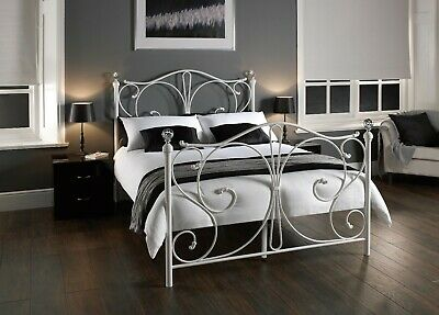 Florence White Metal Bed Frame with Crystal Detail - Single Double & Kingsize
