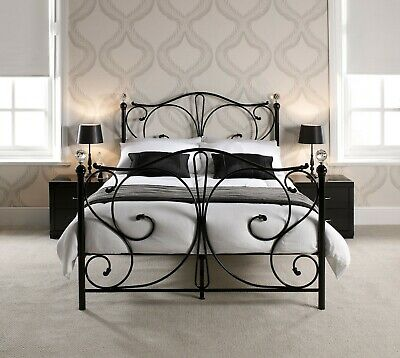Florence Black Metal Bed Frame with Crystal Detail - Single Double & Kingsize