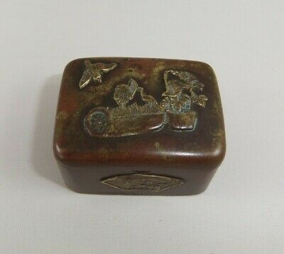 Miniature Antique Japanese Mixed Metal Pill/Trinket Box