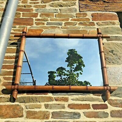 ANTIQUE bamboo MIRROR FRENCH Vintage Wall Mirror wooden oak FRAME 7 KG 75 CM