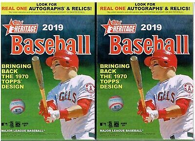(2) 2019 Topps HERITAGE Baseball MLB Trading Cards 35c Retail HANGER Box EA LOT