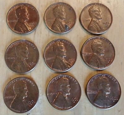 Lot of 9 Lincoln Memorial Cents Pennies 1960 - D (small cents) Ungraded FREESHIP