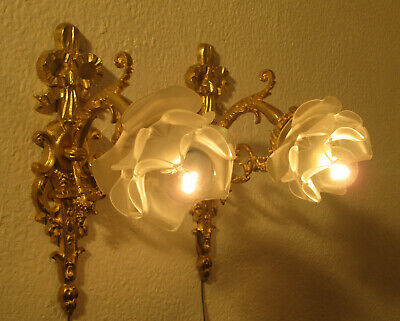 Pair Of Wonderful French Art Nouveau Sconces 1910 - Heavy Bronze -