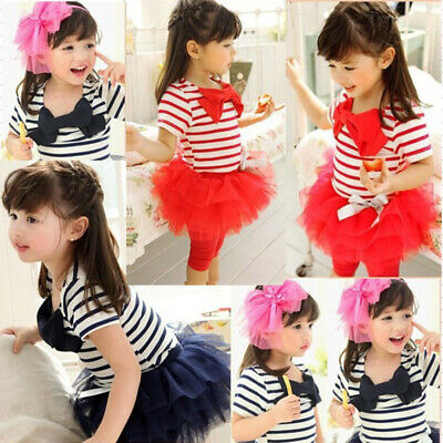 Dress T-shirt Pants Baby Sleeve Tops+tutu Girls Kids Outfits 2pcs Toddler Child