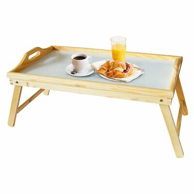 Wooden Bedside 2 In 1 Table Tray Portable With Folding Legs