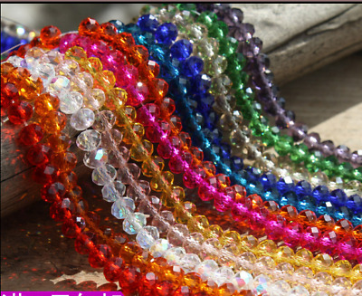 Wholesale 200pcs 8mm Crystal Faceted  Abacus Loose Bead Bracelet Necklace Craft