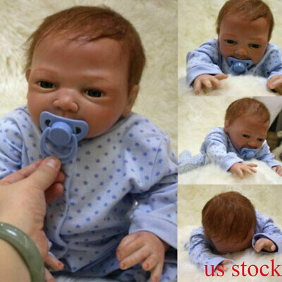 "20"" Newborn Reborn Lifelike Baby Silicone Vinyl Baby Boy Doll Blue Eyes New Gift"