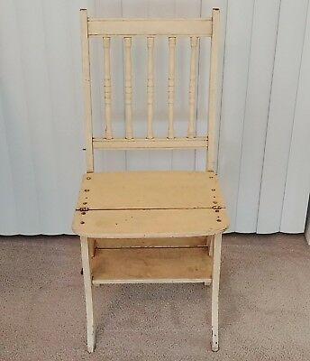 Antique Wood Chair Converts to Step Ladder Franklin Library 1880 -1900 Paris Mfg