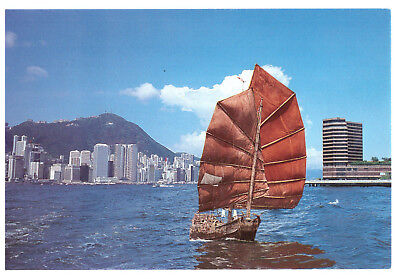 Chinese Junk Safe Journey, Hong Kong Harbour, China Rare Ship Picture Postcard