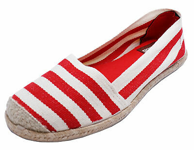 Ladies Cotswold Red Stripe Slip-On Canvas Casual Espadrille Shoes Pumps Uk 3-5