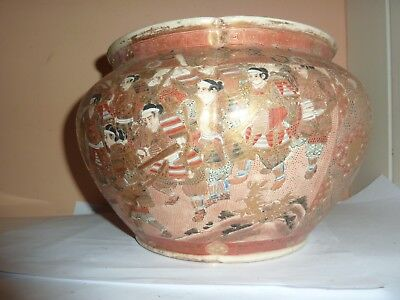 Japanese Meiji Satsuma Pottery 15.7 Cm High Bowl/vase With Samurai And Lady Deco