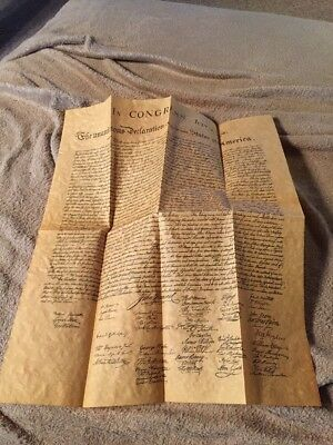 "Declaration of Independence Replica on parchment paper 12 x 16"" Free Shipping"