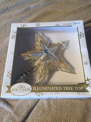 "Illuminated Tree Top Star Clear/White with Gold Trim Kurt S. Adler 9"" 5-point"