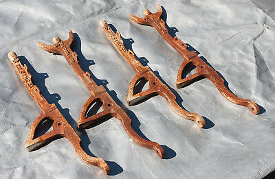"""Lot 4 The Cable Co. Brackets Unusual Re Purposing Cast Iron S (E5R) 14"""" Rusty"""