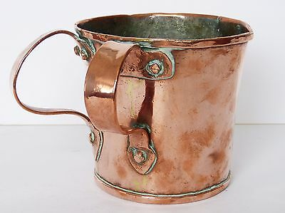 Antique c19th COPPER Russian? PASS Double Handle LOVING CUP Sharing TYG Tankard