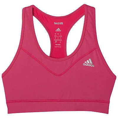ADIDAS - BNWT - Tech Fit Climalite Shock Pink Sports Bra Crop Top - XS
