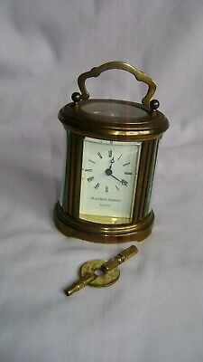 Vintage Matthew Norman 8 Day Miniature Oval Carriage Clock + Key In Gwo