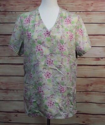 21094aa7316 SB Scrubs Womens Uniform Scrub Top Size M Green Pink Floral V Neck Front  Pockets