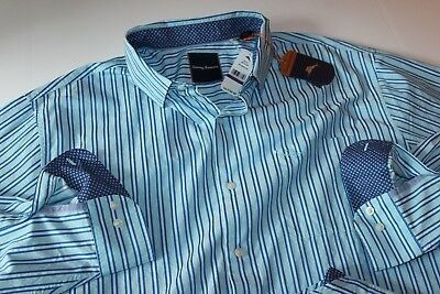 2bb653ede9c Tommy Bahama Shirt Surf The Line Riviera Azure BT317441 LS XX-Large Big 2XB