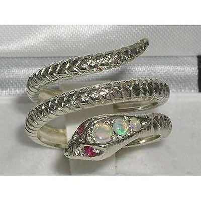 English Solid 925 Sterling Silver Natural Fiery Opal & Ruby Snake Serpant Ring