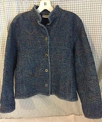 5f9cf36fb6 CHICO S DENIM JACKET Jean Open Front Size 1 Floral Embroidered Blue ...