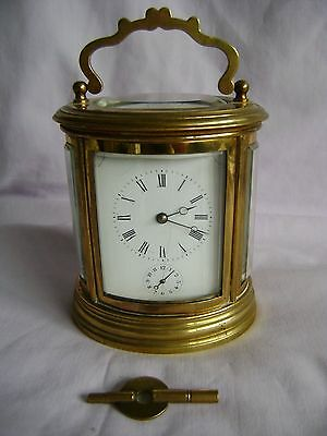 ANTIQUE c1880 FRANCOIS ARSENE MARGAINE OVAL CARRIAGE CLOCK WITH STRIKE AND ALARM