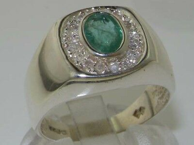 925 Sterling Silver Natural Emerald & CZ Mens Signet Ring - Sizes N to Z