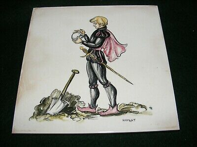 "Vintage Pilkington Hand Painted Tile ""Hamlet"" Shakespeare Literary Character 6"""