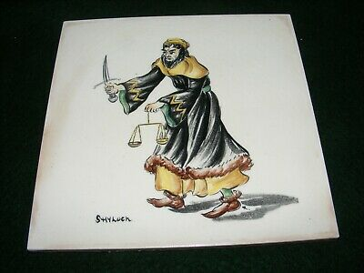 "Vintage Pilkington Hand Painted Tile ""Shylock"" Shakespeare Literary Character 6"""