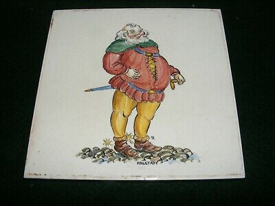 "Vintage Pilkington Hand Painted Tile Falstaff"" Shakespeare Literary Character 6"""