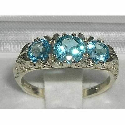 Solid 925 Sterling Silver High Quality Natural Topaz Antique Style Trilogy Ring