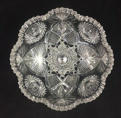"J. Hoare & Co ABP Cut Glass No. 5134-284 Pattern 8"" Bowl  - SIGNED"