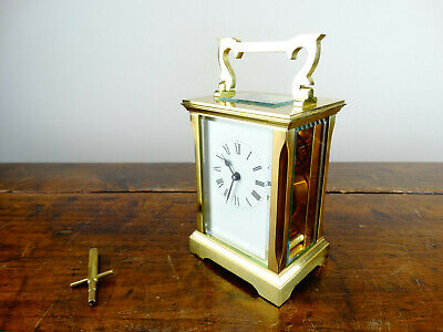 French Brass Travel Carriage Clock by Huber London with 8 Day Jeweled Movement