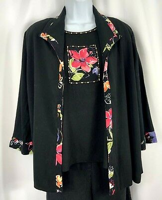 ALFRED DUNNER Petites Womens Size 12P 2-Piece Black Floral Beaded TOP & JACKET