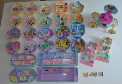 Vintage Lot Polly Pocket Bluebird Compacts Figures Disney Carriage Pencil Case