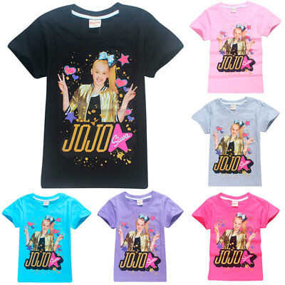 New Jojo Siwa Printed Kids Girls T Shirt Summer Cotton Tops for Age 3-12Y