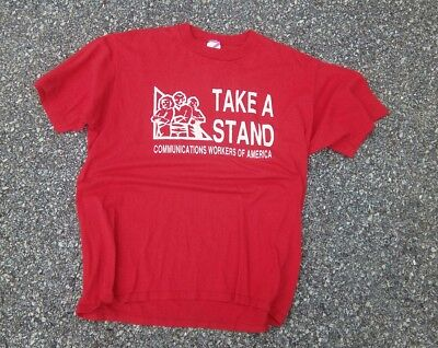 Vtg Jerzees Take A Stand Communications Workers of America T Shirt XL 80s 90s
