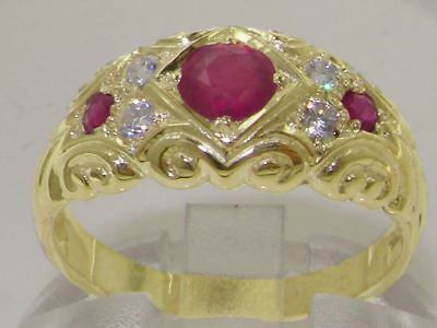 Solid 14ct Yellow Gold Natural Ruby & Diamond Vintage Style Band Ring