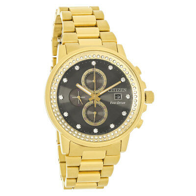 Citizen Eco-Drive Nighthawk Mens Crystal Gold Tone Chronograph Watch FB3002-61E