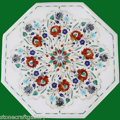 Marble Coffee Table Top Stone Pietra dura Handmade Crafts Work For Home Decor