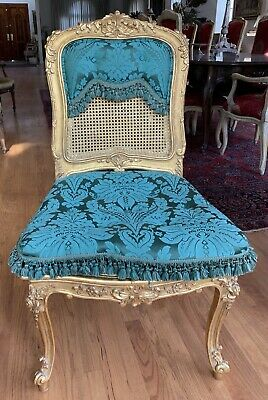 Magnificent French Set Of 4 Louis Xv Style Caned Carved & Gold Leaf Side Chairs