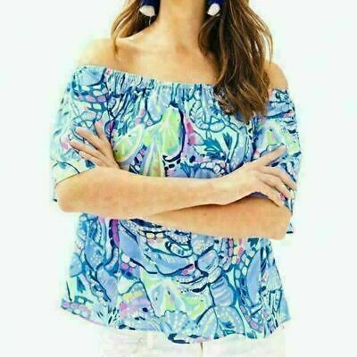 cc313adaf91fc NWT LILLY PULITZER NEW  98 Sain Top Blue Peri Pinch Pinch Off Shoulder Top S