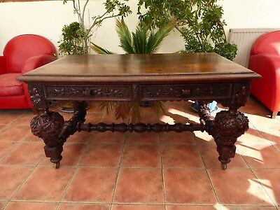 Heavily Carved Country Oak Library Table 1780  Free Shipping Mainland England