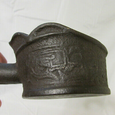 Antique Embossed Black Cast Iron Chinese Silk Iron with Carved Wood Handle